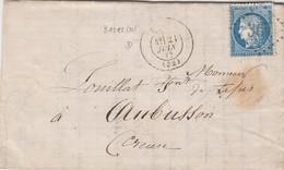 LETTRE. 20 JUIN 70. GIRONDE BAZAS. GC 361 POUR AUBUSSON / 2 - 1849-1876: Classic Period