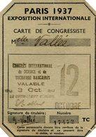 EXPOSITION 1937(CARTE DE CONGRESSISTE) - Visiting Cards