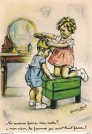 C P M--REPRO.--GERMAINE BOURET -tu Sauras Faire Ma Raie ?--mon Vieux,les Fem !...( Retirage 15cm +10.5 Cm)--voir 2 Scans - Bouret, Germaine
