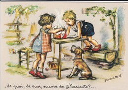 C P M--REPRO.--GERMAINE BOURET -de Quoi,de Quoi,encore De Z'haricots ? ..( Retirage 15cm +10.5 Cm)--voir 2 Scans - Bouret, Germaine