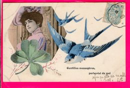 Cpa Carte Postale Ancienne  - Fantaisie Femme Hirondelle - Women