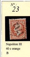 N°23  NAPOLEON III 40 C ORANGE - 1862 Napoléon III
