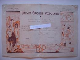 BREVET SPORTIF POPULAIRE DE 1961 - 64 - PAU - ILLUSTRATION DU PEINTRE HENRI LAULHE - Diplomi E Pagelle
