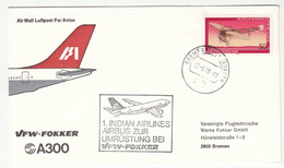 Germany, VFW-Fokker Indian Airlines Airbus Illustrated Pmk Letter Cover 1978 Bremen B180625 - Airplanes