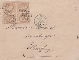 NAPOLEON LAUREE BLOC DE 4 10C BISTRE OBLITERATION GROS CHIFFRES 3219 ROUEN - 1849-1876: Klassieke Periode
