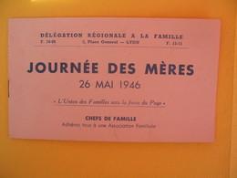 Journée Des Mères 26 Mai 1946 Délégation Régionale à La Famille - Erinnophilie