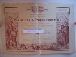 CERTIFICAT D'ETUDES PRIMAIRES 1964 - 64 SALIES DE BEARN - ILLUSTRATION DU PEINTRE H. LAULHE - BASQUE CHISTERA - BEARNAIS - Diplômes & Bulletins Scolaires