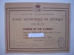 64 - SALIES DE BEARN - DIPLOME ECOLE MUNICIPALE DE MUSIQUE 1962-1963 - SIGNATURES DU MAIRE ET DU DIRECTEUR - Diplômes & Bulletins Scolaires