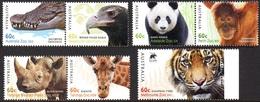 Australie Australia 3672/78 Animaux De Zoo, Tigre, Aigle, Girafe, Alligator, Panda, Rhinoceros, Ourang-outang - Stamps
