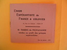 """Union Espérantiste De France & Colonies """" Mieux Vaut Prévenir Que Guérir """" (vignettes Collées Au Carnet) - Erinnophilie"""