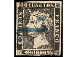 SPAIN: ISABEL II. 1850. 6 CUARTOS BLACK - Spain