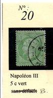 N°20  NAPOLEON III 5 C VERT - 1862 Napoléon III