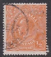 Australia SG 85 1927 King George V,half Penny Orange,Small Multiple Watermark Perf 14, Used - 1913-36 George V: Heads