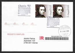 Portugal Chopin Bicentenaire FDC Recommandée Musique 2010 Chopin Bicentennial Registered FDC Music - Muziek