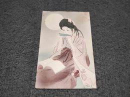 ANTIQUE POSTCARD JAPAN HANDPAINTED GIRL READING A BOOK UNUSED - Japon