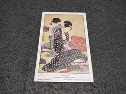 "ANTIQUE POSTCARD JAPAN UTAMARO "" FOLDING A LENGHT OF CLOTH"" PAINTING BRITISH MUSEUM - Japon"