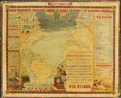Bibliografía. 1883. Cartel Publicitario De CABLES TELEGRAFICOS SUBMARINOS DE BILBAO Y BARCELONA. Madrid, 1883. - Spain