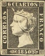 1º Y 2º Centenario. * 1 1850. 6 Cuartos Negro. PIEZA DE LUJO. Cert. GRAUS. - Spain