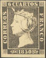1º Y 2º Centenario. * 1A 1850. 6 Cuartos Negro (II-37), Borde De Hoja Inferior. PIEZA DE LUJO. Cert. CEM. 2018 610. - Spain