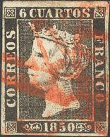 "1º Y 2º Centenario. º 1 1850. 6 Cuartos Negro. Matasello Prefilatélico ""A"", De Orense Estampado Tres Veces. MAGNIFICO. - Spain"