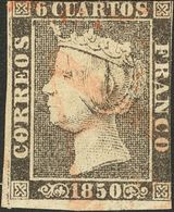 "1º Y 2º Centenario. º 1 1850. 6 Cuartos Negro. Matasello Prefilatélico ""As"", De Reus. BONITO. Cert. CEM. - Spain"