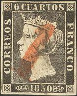 """1º Y 2º Centenario. º 1 1850. 6 Cuartos Negro. Matasello Prefilatélico """"1"""", De Ocaña. MAGNIFICO Y RARISIMO. - Spain"""