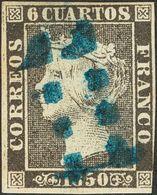 "1º Y 2º Centenario. º 1 1850. 6 Cuartos Negro. Matasello ""11"" (limado), En Azul De Sevilla. MAGNIFICO. - Spain"