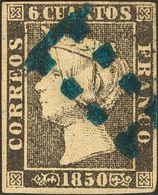 """1º Y 2º Centenario. º 1A 1850. 6 Cuartos Negro. Matasello Prefilatélico """"11"""" Limado, En Azul De Sevilla. MAGNIFICO. - Spain"""