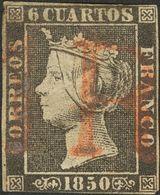 """1º Y 2º Centenario. º 1A 1850. 6 Cuartos Negro (II-36). Matasello Prefilatélico """"1 R"""", En Rojo De Origen Desconocido. MA - Spain"""