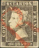 """1º Y 2º Centenario. º 1A 1850. 6 Cuartos Negro (II-15). Matasello Prefilatélico """"R"""", En Rojo De Origen Desconocido. MAGN - Spain"""