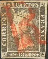 """1º Y 2º Centenario. º 1A 1850. 6 Cuartos Negro (II-14). Matasello Prefilatélico """"R"""", En Rojo De Origen Desconocido (podr - Spain"""