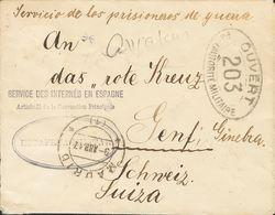 1º Y 2º Centenario. Sobre 1917. ALCALA DE HENARES A GINEBRA (SUIZA). Marca De Franquicia SERVICE DES INTERNES EN ESPAGNE - Spain