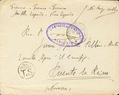 """Guerra Civil. Voluntarios Italianos. Sobre 1938. ALBACETE A PUENTE LA REINA (NAVARRA). Anotación Manuscrita """"No Hay Sell - Spain"""