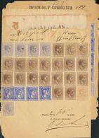 Filipinas. Telégrafos. Sobre 1883. Tres Reintegros De Telegramas De MANILA A GLASGOW Y SUEZ, Circulados Entre 1883 Y 188 - Philippines