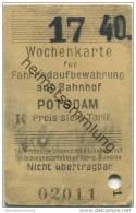 Deutschland - Potsdam - Wochenkarte Für Fahrradaufbewahrung Auf Bahnhof Potsdam 1940 - Wochen- U. Monatsausweise