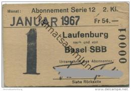 Schweiz - SBB - Laufenburg - Basel - Monats-Abonnement - Fahrkarte Januar 1967 - 2. Klasse - Wochen- U. Monatsausweise