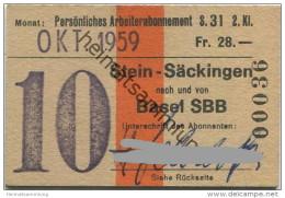 Schweiz - SBB - Stein-Säckingen - Basel - Monats-Arbeiterabonnement - Fahrkarte Oktober 1959 - 2. Klasse - Season Ticket