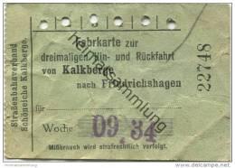 Deutschland - Schöneiche Kalkberge - Strassenbahnverband Schöneiche Kalkberge - Fahrkarte 1934 - Dreimalige Hin- Und Rüc - Strassenbahnen