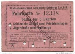 Deutschland - Schöneiche Kalkberge - Strassenbahnverband Schöneiche Kalkberge GmbH - 5 Fahrten Fahrschein - Strassenbahnen