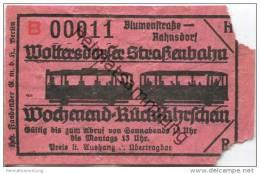 Deutschland - Woltersdorf - Woltersdorfer Strassenbahn - Wochenend-Rückfahrschein - Blumenstrasse Rahnsdorf - Strassenbahnen