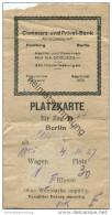 Deutschland - Platzkarte Für D-Zug 34 - Berlin Schlesischer Bahnhof Nach Altona 4. 11. 27 - 2. Klasse  - Wertmarke 1M - Transporttickets