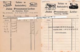 HEERS-2 LEVERINGSBONNEN-VARKENS EN RUNDSSLACHTERIJ-JULES PROESMANS-LEDUC-STEENWEG 25-JAREN '40-MOOIE DOCUMENTEN ! ! ! - Heers
