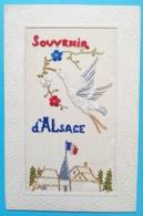 Carte Brodée Souvenir D'Alsace Cigogne Drapeau Militaria - Embroidered