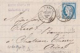 Type CERES  -  Oblitération  CHALONS Sur MARNE Sur Pli Vers CHATEAU THIERRY  Ambulant - 1871-1875 Cérès