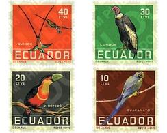 Ref. 33409 * MNH * - ECUADOR. 1958. TROPICAL BIRDS . PAJAROS TROPICALES - Ecuador
