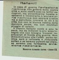 PETIT TRACT - ITALIANI - IN CASO DI GUERRA L'AVIAZIONE NEMICA NON GETTERA SULLE VOSTRE CITTA E SULLE VOSTRE - ANNO IX - Historische Dokumente