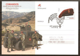 Portugal Entier Postal Troupes Commando Afghanistan Cachet Premier Jour 2010 Stationery Troops In Afghanistan Postmark - Militaria