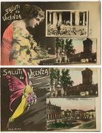 2 Cards Saluti Da Vicenza Tram Femme Papillon Edit Buso Surrealisme Montage - Vicenza