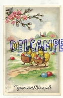 Joyeuses Pâques. Poussins Humanisés. Facteurs, Oeufs Colorés. Coloprint 53908. 1956 - Pâques