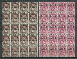 ALGÉRIE 1947 . Timbres Taxes N°s 33 Et 34 En Blocs De Vingt . Neufs ** (MNH) - Algérie (1924-1962)
